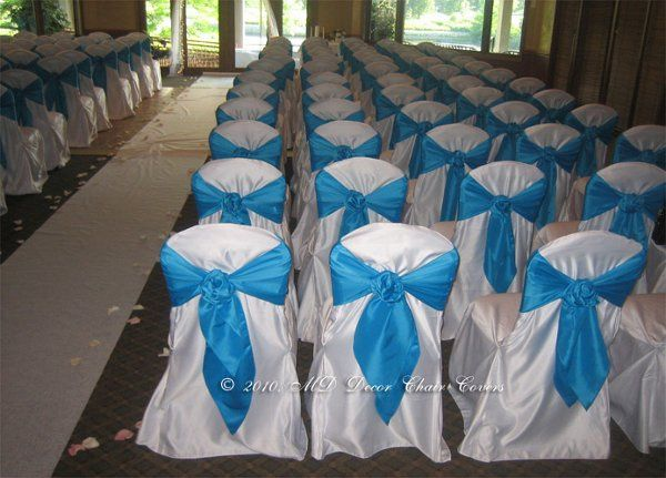 Blue chair bows for the ceremony