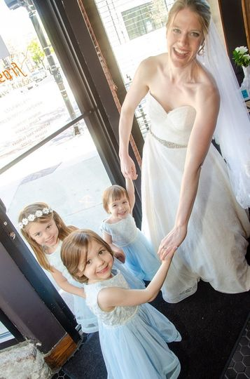 Bride and young guests