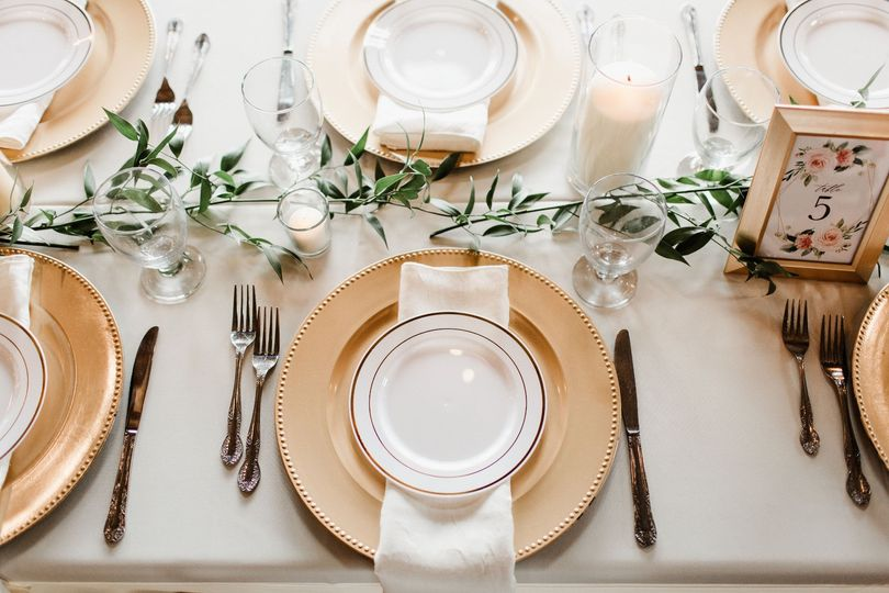 Table Settings w. Gold Accents