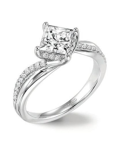 Style ArtCarved 31-V304ECW  STELLA, Diamond engagement ring with princess cut center stone set...