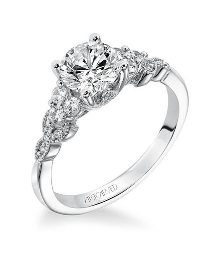 Style ArtCarved 31-V309ERW  ADELINE, Diamond engagement ring with round center stone and vine...