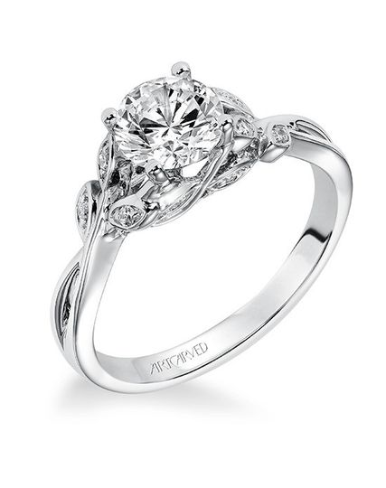 Style ArtCarved 31-V317ERW  CORINNE, Diamond engagement ring with round center stone and diamond...