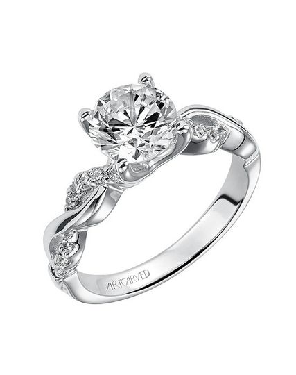 Style ArtCarved 31-V319GRW  Gabriella, Contemporary Diamond Engagement Ring with Round Center...