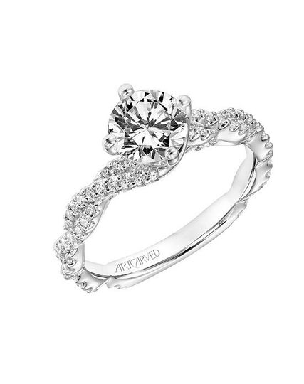 Style ArtCarved 31-V772ERW  BECCA, Contemporary Diamond Engagement Ring with East-West Prongs...