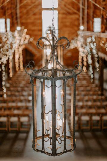 A tasteful iron chandelier