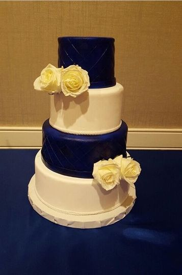 Navy and white quilted cake
