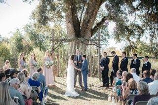 Wedding ceremony in rustic setting