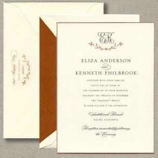 Cream and brown invitations