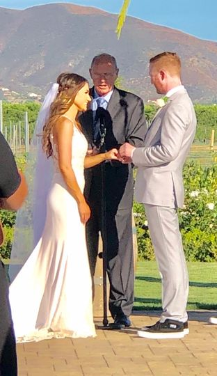 Exchanging rings at a Winery