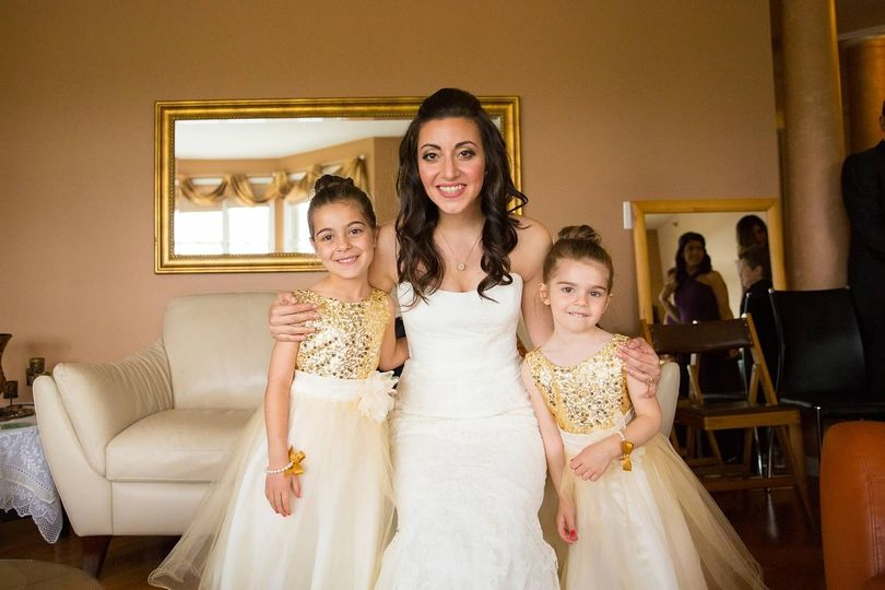 Bride with little girls