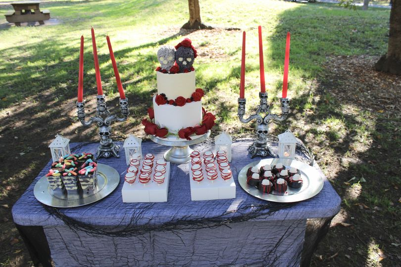 Outdoor cake and dessert display