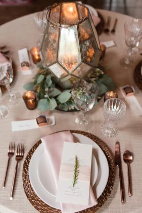 Table setting and lantern centerpiece