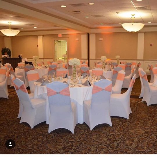 Peach and silver decor