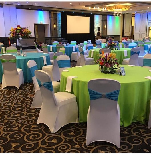 Vivid blue and green table cloths