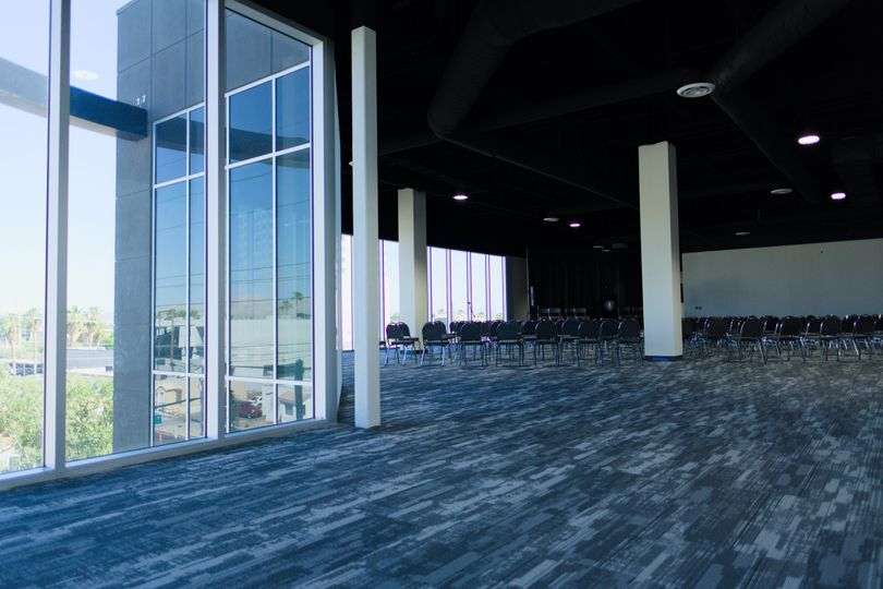 The PentHouz Banquet Room with large windows