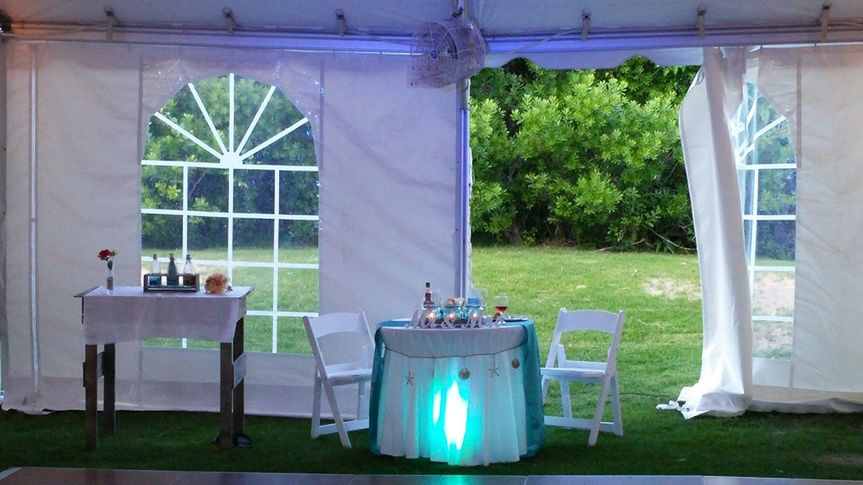 """Underlighting the """"Sweet Hearts Table"""" with customized par lighting to enhance the atmosphere of the..."""