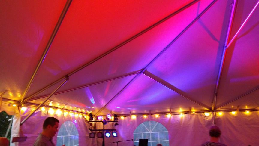 The tent roof is a blank canvas for creative lighting effects.