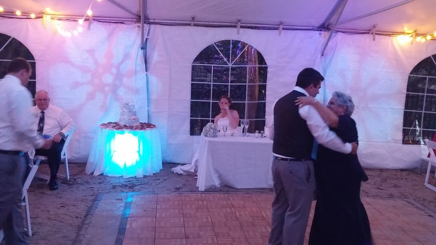 The undertable lighting can be adjusted to almost any color while the flower-like GOBO projected on...