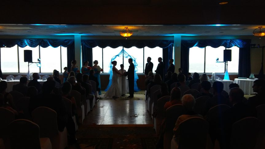 Great use of uplighting for an indoor ceremony.