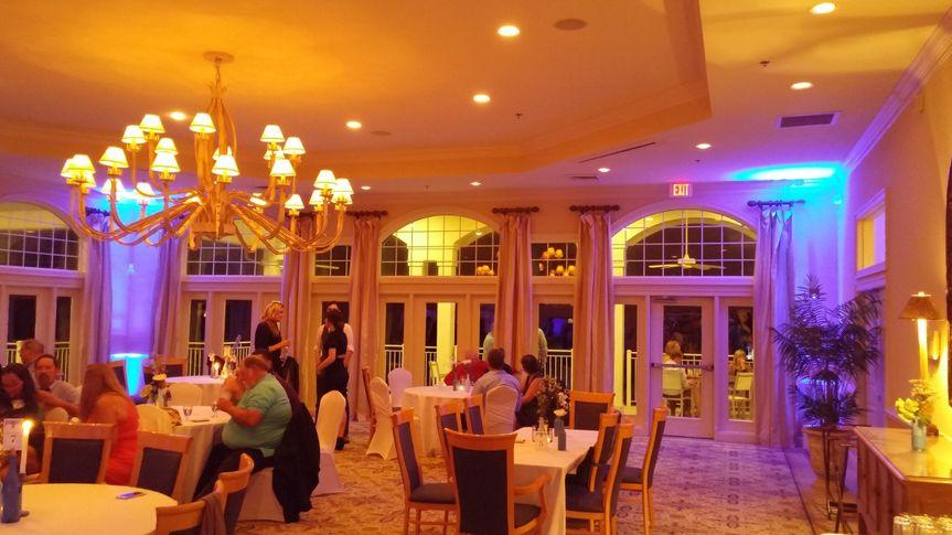 Corner uplighting to help transfer an ordinary (although elegant) room into a custom creation...