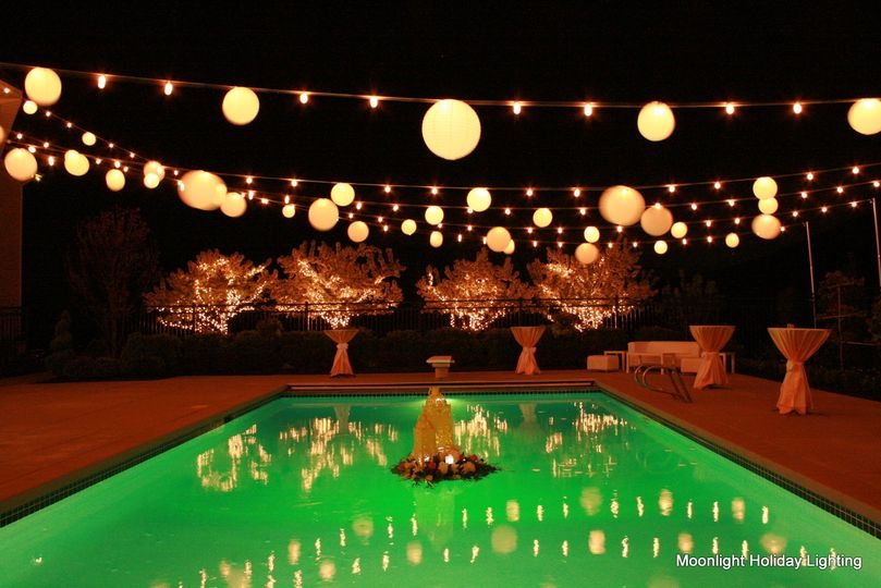Green pool and warm lights