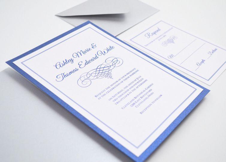 Elegant Scroll Flat Wedding Invitation