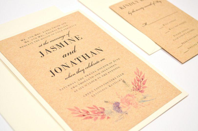 Watercolor Bouquet Flat Wedding Invitation