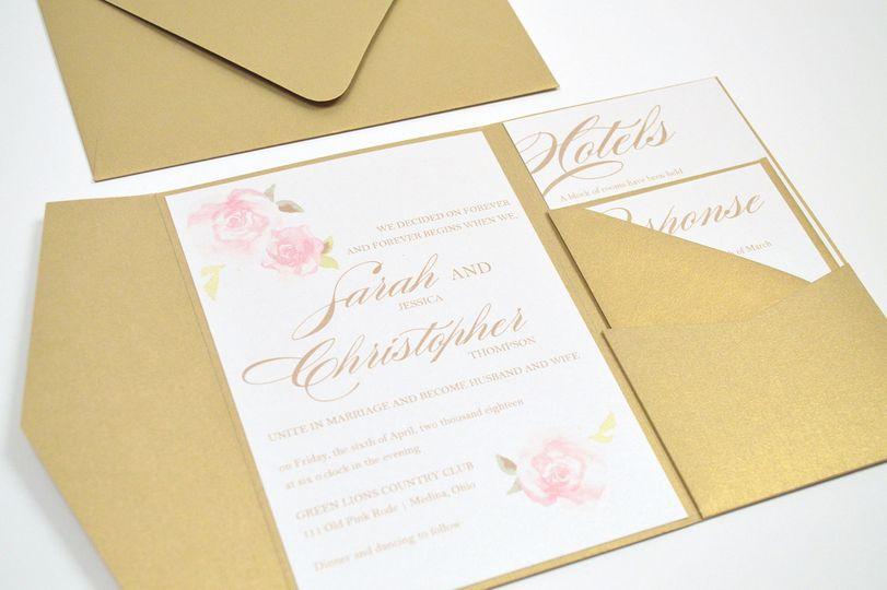 Pink Roses Pocketfold Wedding Invitation