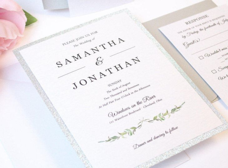 Laurel Leaves Flat Wedding Invitation