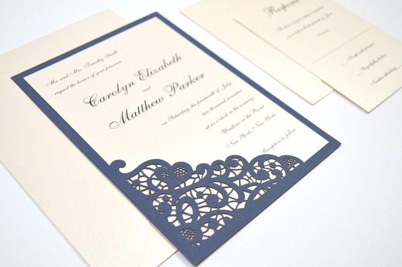 Elegant Lace Laser Cut Wedding Invitation