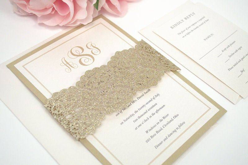 Simple Monogram Flat Wedding Invitation