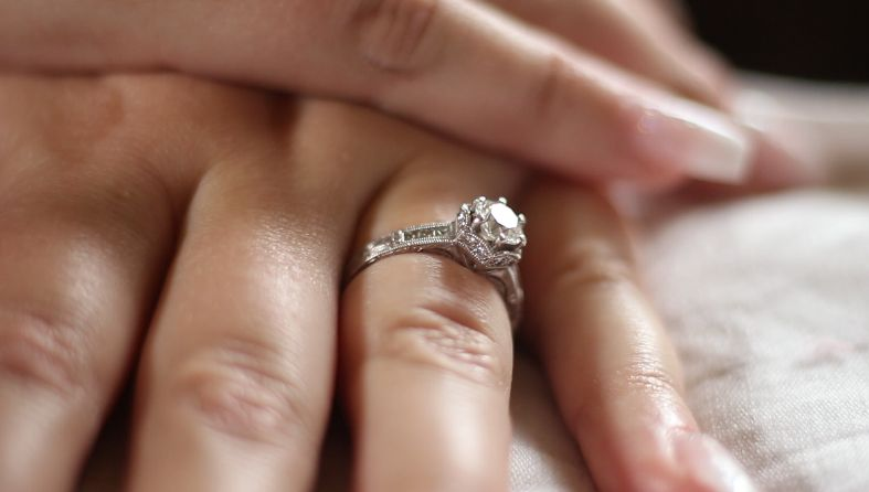 Detail of engagement ring