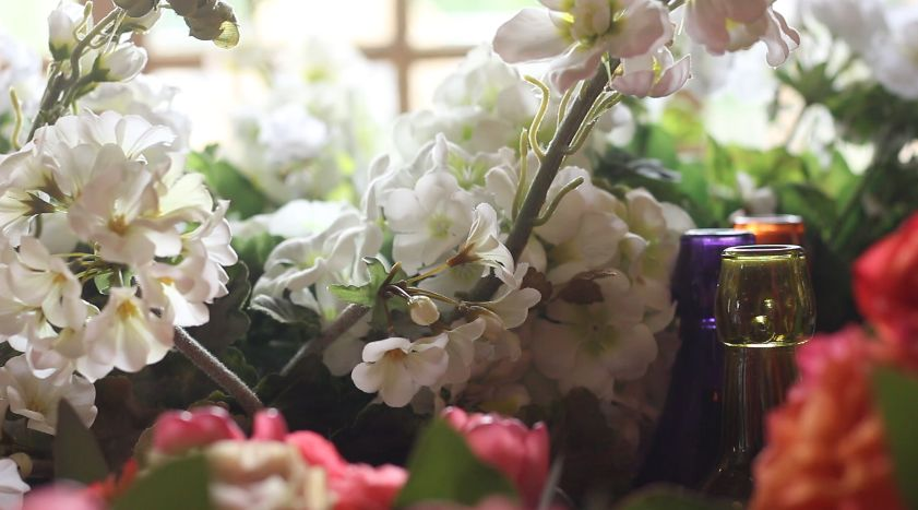 Flowers and glass bottles