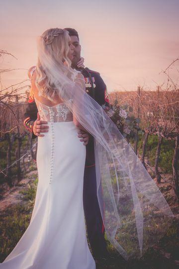 Bride and groom at gloaming