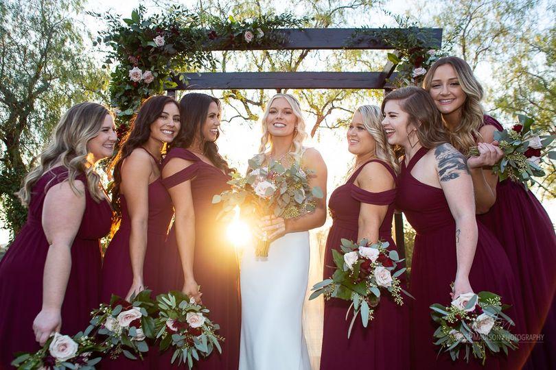 Bridal party at sunset