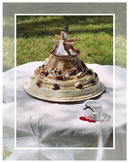 a fun seaside themed wedding cake