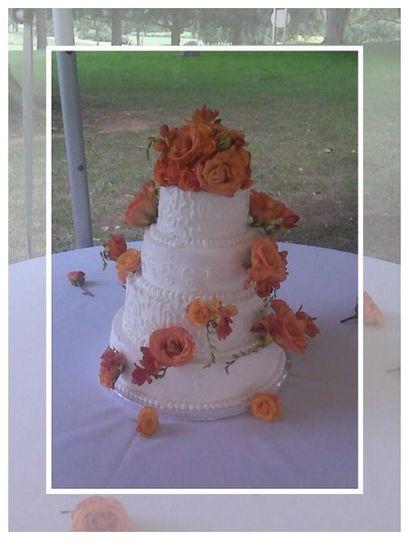 White flowers, white design, orange roses