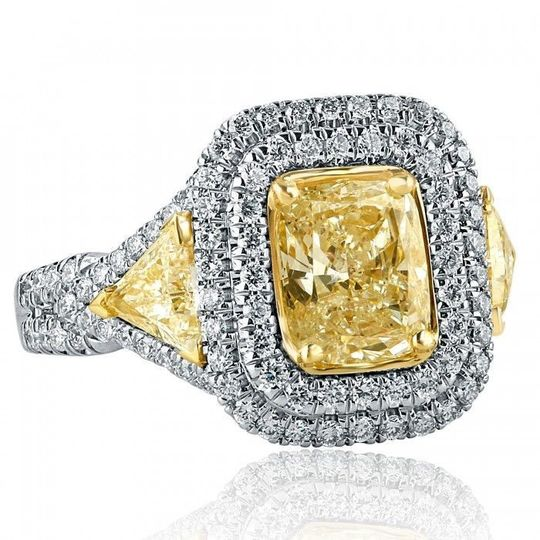 2.98 TCW Radiant Cut Trillion Side Yellow Diamond Engagement Ring 18k White Gold Sku #:ER...