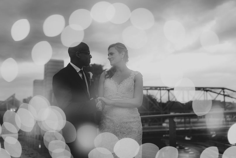 Black and white photo of the newlyweds