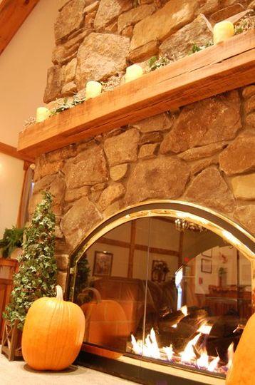 Warm fieldstone fireplace