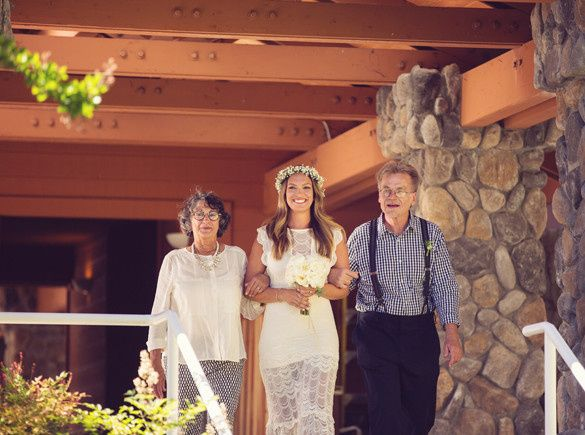 Bride together with her parents