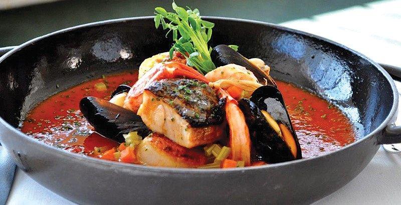 Seabass seafood bouillabaisse