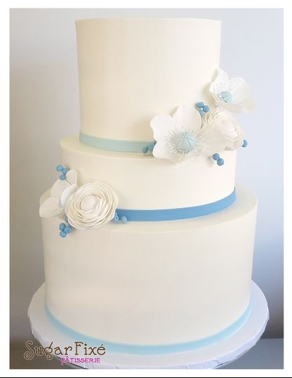 tier blue gumpaste flowers