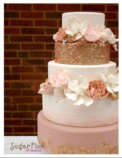 rose gold seuqin wedding cake