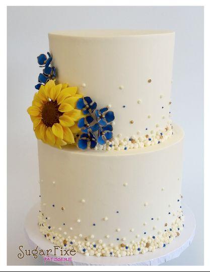 sunflower hydrangea gold blue cake