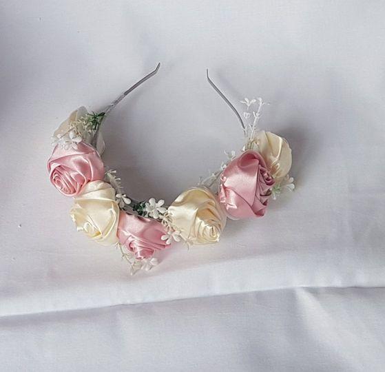 Satin rose head band