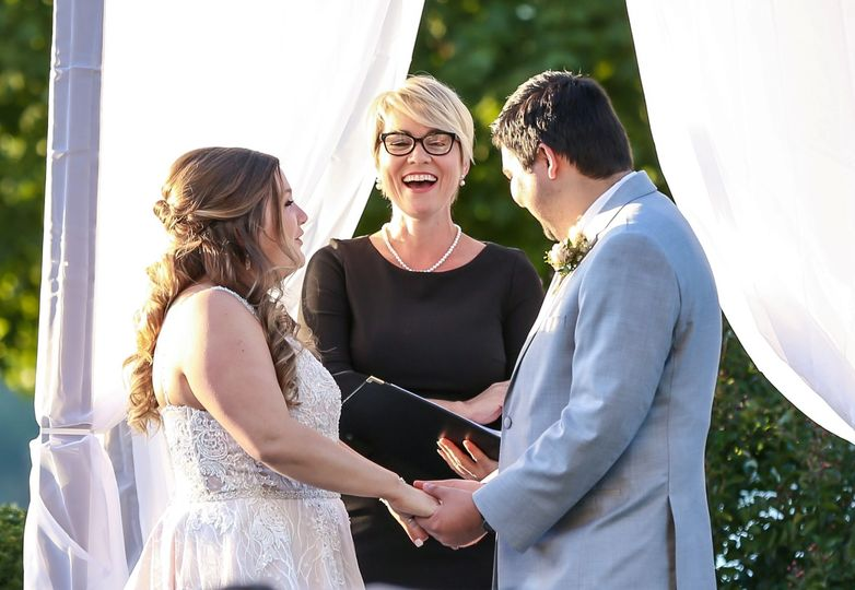 Laughing with the couple