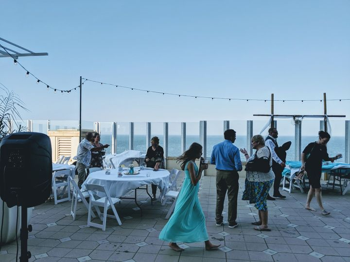 At an oceanfront wedding in 2019