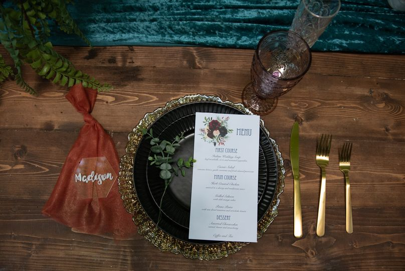 Jewel toned table scape
