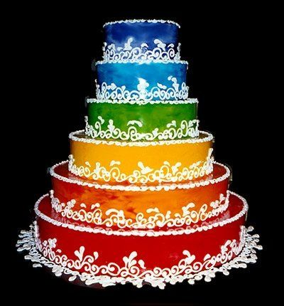 6 layer Color Explosion Commitment Cake! A beautiful cake made for any two people wanting to express...